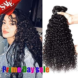 Brazilian Virgin Curly Human Hair Weave 3 Bundles Jerry Curly Human Hair Bundles Grade 8A 100% Unprocessed Virgin Human Hair Bundles (12 14 16 inch) Natural Color