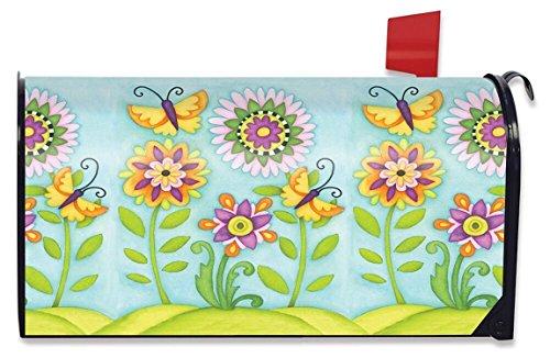 Zalig tuin lente brievenbus cover primitieve bloemen vlinders Briarwood Lane
