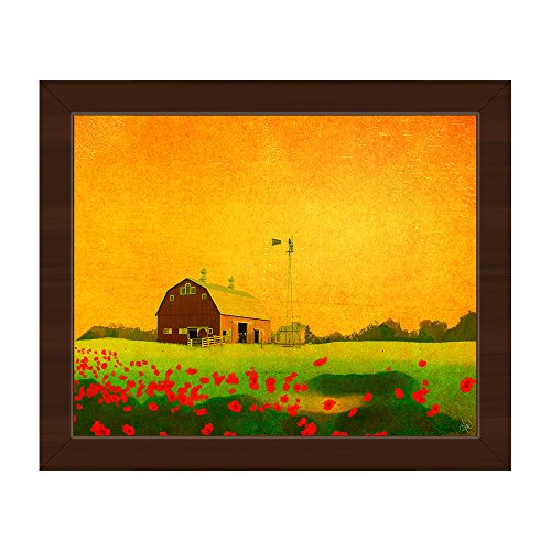 Farm - Sunset with Red Barn in Pasture with Red Flowers Windmill Watercolor Painting Wall Art Print on Canvas with Espresso Frame
