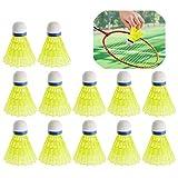Xinlie Palle da Badminton con Piuma Volani Badminton Prime Sport Formazione Badminton Palle Volani in Nylon Sport Volani in Plastica Volani da Badminton in Nylon per Interni&Esterni Sport(12 Pezzi)