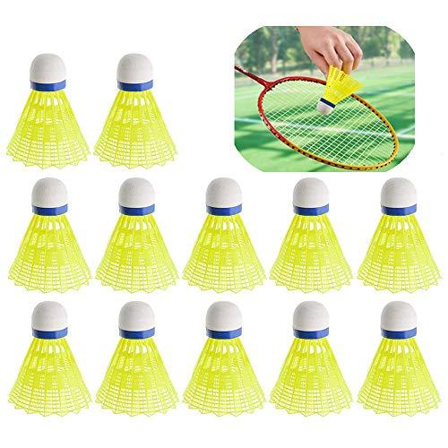 Xinlie Plástico Amarillo Bádminton Volantes de Bádminton Nylon Volantes de Bádminton de Pluma de Ganso Bádminton de alta Velocidad de Plumas de Ganso Badminton Ball Outdoor para Deportes al Aire12 PCS