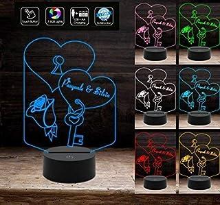 LAMPADA LED personalizzata Cuore e Nomi a batteria Idea regalo San Valentino a batteria + cavo micro USB Decorazione della...