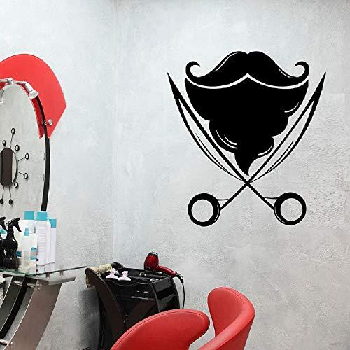 Barbershop Wandtattoos Schönheitssalon Haarschnitt Mann Bart Mode Interieur Vinyl Fenster Aufkleber Kunst abnehmbare Wandbild42x46 cm