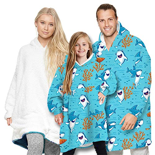 Oversized Hoodie Blanket Family Matching Oversized Wearable Blanket Cute Animal Print Hoodie Sweatshirt Super Warm and Cozy Fleece Pullover with Giant Front Pocket