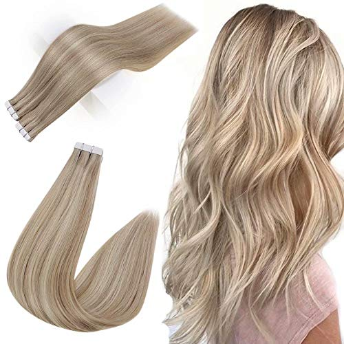 Easyouth Tape in Hair Extensions 18zoll 40g 20Stück pro Paket Aschblondes Highlight mit Hellblond Tape in Kleber Extensions Echthaar Extensions Tape