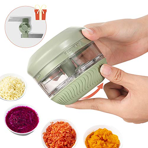 FUHUIM Mini Manual Food Chopper, Durable Hand Held Food Choppers and Dicers, One More Free Blade, Fits for Chopping Vegetables/Fruits/Onions/Garlics/Salad/Coleslaw/Puree