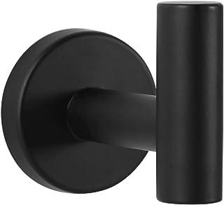 Ambrosya - Toallero de Acero Inoxidable en Negro - Cuarto de Baño Soporte de Gancho para Toalla Gancho Adhesivo para Ropa (Acero Inoxidable (Negro))