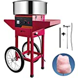 VBENLEM Commercial Cotton Candy Machine with Cart Red 110V Stainless Steel Electric Candy Floss Maker with Cart Perfect for Various Parties