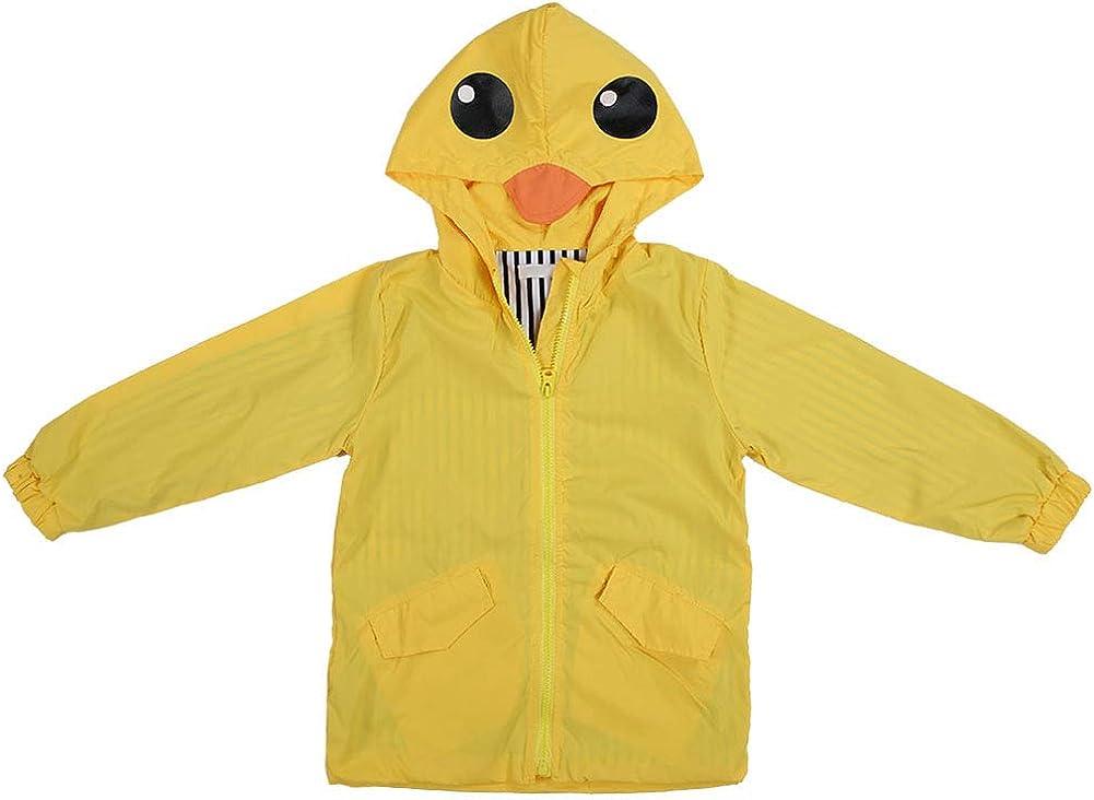 ROSEBEAR Toddler Baby Boy Girl Duck Raincoat, Cute Waterproof Cartoon Hoodie Zipper Coat Outfit