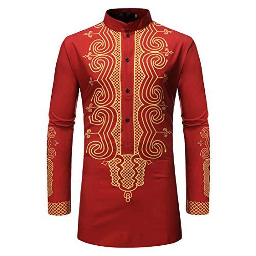 YUPENG Men Shirt African Chief Bronzing Totem Shirts Men Long Sleeve Shirt Kenya Nigeria Stand Collar Robe L