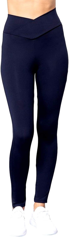 Active USA Women's Cross Waist Band Workout Full Length Pants