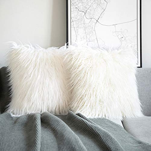 Phantoscope Pack of 2 Luxury Series Throw Pillow Covers Faux Fur Mongolian Style Plush Cushion Case for Couch Bed and Chair, Off White 22 x 22 inches 55 x 55 cm
