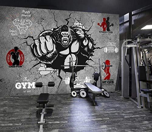 Benutzerdefinierte 3d fototapete wohnzimmer tapete personalisierte kreative fitness bodybuilding gorilla gebrochen wand gym hintergrund wall-150 * 105 cm