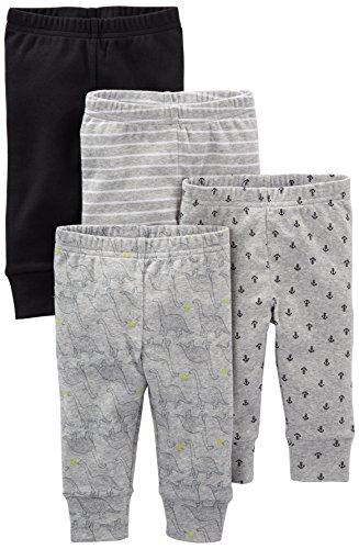 Simple Joys by Carter's pantalón para bebé, paquete de 4 ,Black/Gray/Dino/Anchor ,12 Meses