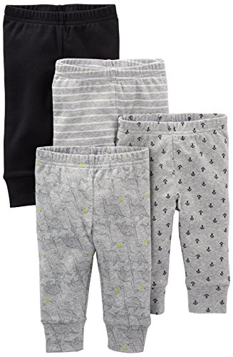 Simple Joys by Carter's Baby Boys' 4-Pack Pant, Black/Gray/Dino/Anchor, Newborn
