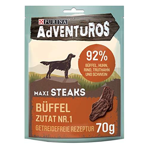PURINA AdVENTuROS Maxi Steaks Hundeleckerli getreidefrei, Hundesnack reich an Büffel, 7er Pack (7 x 70g)