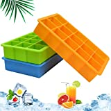 Ice Cube Trays 3 Pack, Silicone Ice Tray Easy Release Flexible 15 Ice Cube Molds, Freezer Ice Trays...