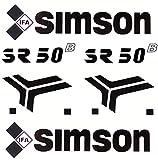 BISOMO Aufkleber Schriftzug Set für Knieblech für Simson SR50 B - DDR Roller (2-000)