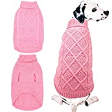 Mihachi Dog Sweater - Winter Coat Apparel Classic Cable Knit Clothes for Cold Winter,Pink,SM