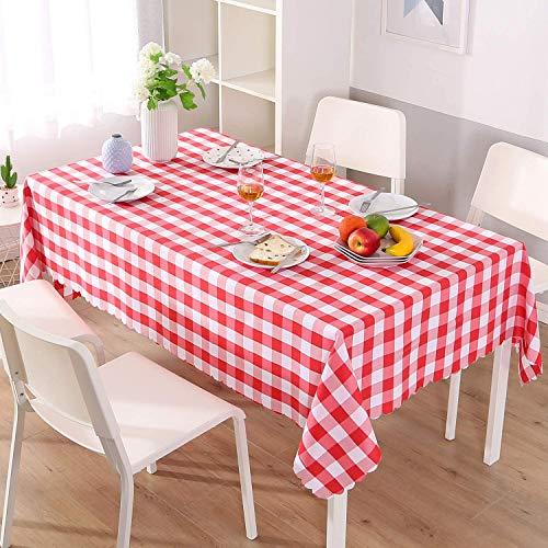 Qucover Tovaglia Rettangolare 140x220cm Rosso e Bianco a Scacchi Tovaglie da Cucina/Giardino/Picnic