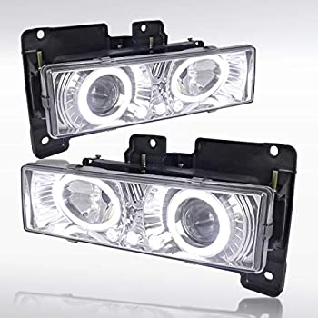 Autozensation For Chevy GMC Sierra Yukon C10 C/K Pickup Chrome LED Halo Projector Headlights