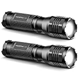 WdtPro LED Flashlights S1000 [2 Pack], Powerful High Lumen Tactical Flashlight with Premium Holsters, 3 Modes, Zoomable, Water Resistant Flash Light for Emergencies, Camping, Gift