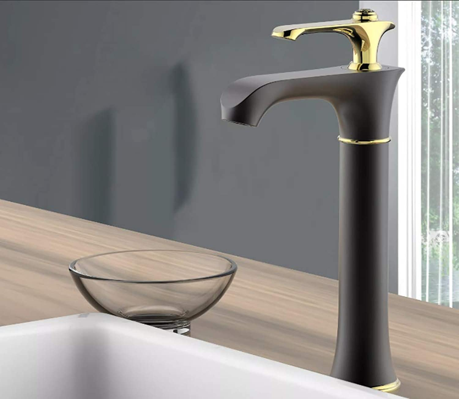 Y&XQ Y&XQBathroom faucet,sink faucet Single Handle prevent splashing, Single Control Modern Cold and heat regulation Retro Style copper faucet,gold,tall