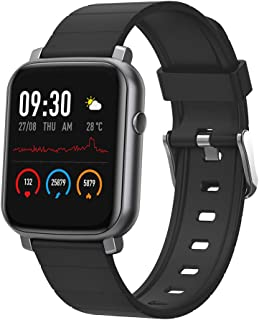 Anmino Smart Watch, Fitness Tracker with Blood Pressure and Heart Rate Monitor, Smart Watches for Android and iOS Phones with Step Counter, Sleep Monitor, IP68 Waterproof Activity Tracker (Black)