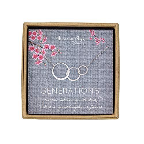 Collar de 3 generaciones, collar de plata de ley con 3 círculos entrelazados para abuela, madre, nieta, joyería de cumpleaños