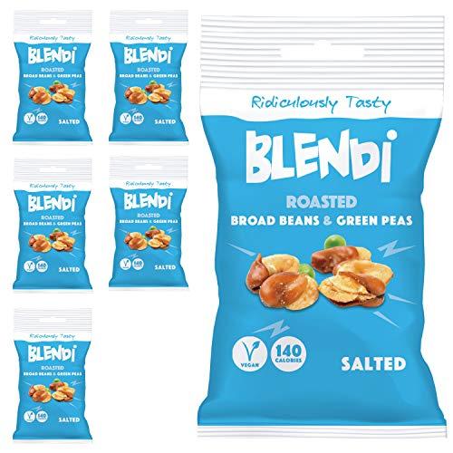 Blendi Snacks Saludables Bajos en Calorías - Aperitivos Sin Gluten, Altos en Proteína Vegana y Fibra - Habas y Guisantes Tostados, Salados con Cáscara - 6 x 35g Bolsas de Aperitivos Gourmet