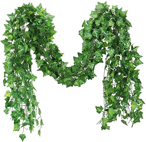 84 feet Fake Foliage Garland Leaves Decoration Artificial Greenery Ivy Vine Plants for Home Decor Indoor Outdoors (Ivy Leaves/12 Strands)