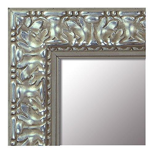 -Espejo de Madera Fabricado en España- Tamaño 64x164 cm. Espejo Decorativo de Pared Modelo 940 Plata Barroco. Ideal para Salón, Dormitorio, Vestidor, Baño o Pasillo.