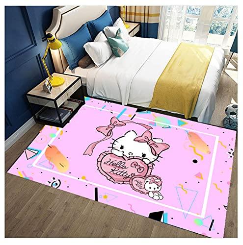 WPCheng Alfombra Hermoso Gato Hello Kitty Alfombra Suave Antideslizante para Decoración del Hogar Impresa En 3D V-630H 140X200Cm