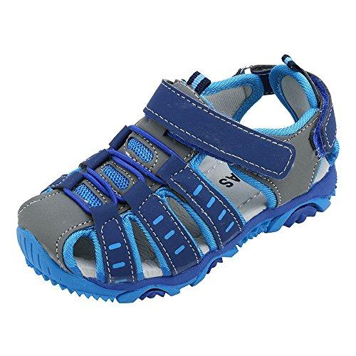 Allence Jungen Mädchen Geschlossene Sandalen Kinder Sommer Outdoor rutschfest Trekkingsandalen Lauflernschuhe mit Klettverschluss 21-36EU