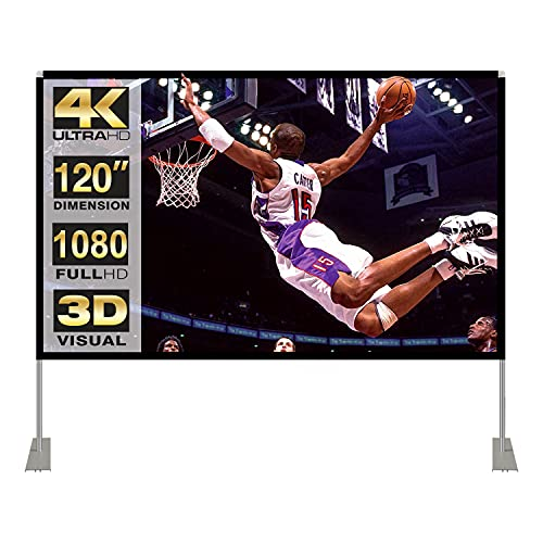 Projector Screen with Stand 120 inch 16:9 HD 4K Outdoor Indoor Projection Screen for Home Theater 3D Fast-Folding Projector Screen with Stand Legs and Carry Bag Projection Movie Wrinkle-Free