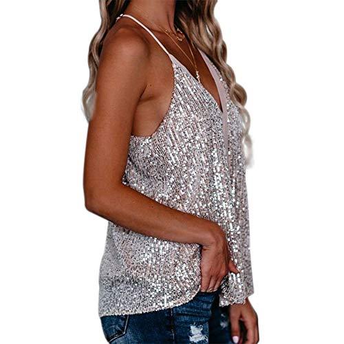 MAHUAOYIXI Camiseta sin Mangas con Cuello en V para Mujer Camisola Sexy para Mujer Crop Top Chaleco de Moda con Lentejuelas para Diario Fiesta Club Noche (Plateado, L)