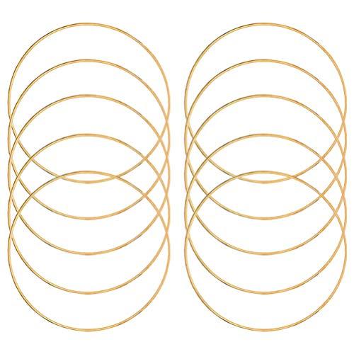 10PCS Gold Metallringe zum Traumfänger Ringe Basteln Eisenringe Zubehör Bastelreifen Ringe Makramee Ringe Stahlreifen für DIY Traumfänger Handwerk Basteln,Kränze, Makramee-Projekte, Dream Catcher,15cm