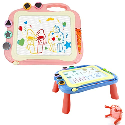 Arkindy Magnetic Drawing Board, Large Doodle Board, Kids Magnetic Drawing Board Table for 2-5 Years Old Kids Birthday Gift 4 Feet Support Toddler Coloring(Pink)