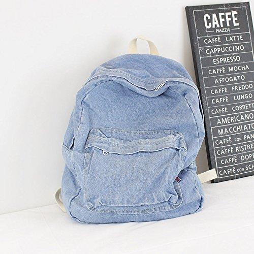 KEROUSIDEN Mochila de Jeans Retro Art Institute Viento Mochila de Lona Color Puro Simple par de Bolsa de Viaje de Gran Capacidad 32cm*40cm*15cm, Azul Claro