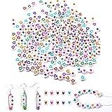 300 Piezas unidades de perlas en forma de corazón y 300 Piezas unidades de estrella de perlas,Perlas para enhebrar,Cuentas de cristal set de manualidades, pulsera, cinta de pelo,joyas y manualidades