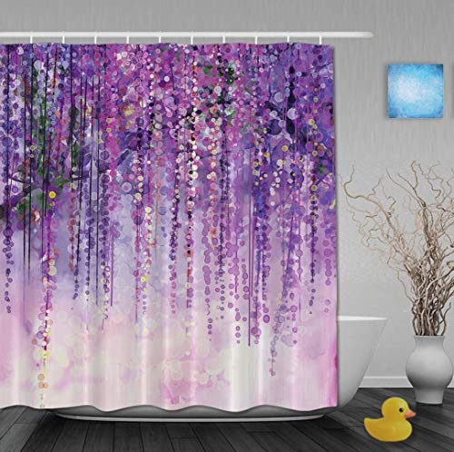 YUNBABA Art Watercolor Paniting Effect Flowers Wisteria Bokeh Decor Spring Landscape Purple Floral Tree Blossoms Bathroom Shower Curtains 66x72 Inch