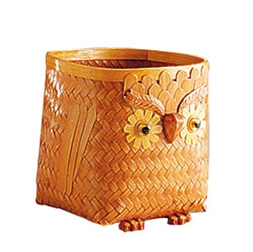 AubryGaspard Cache-Pots hiboux en Bambou