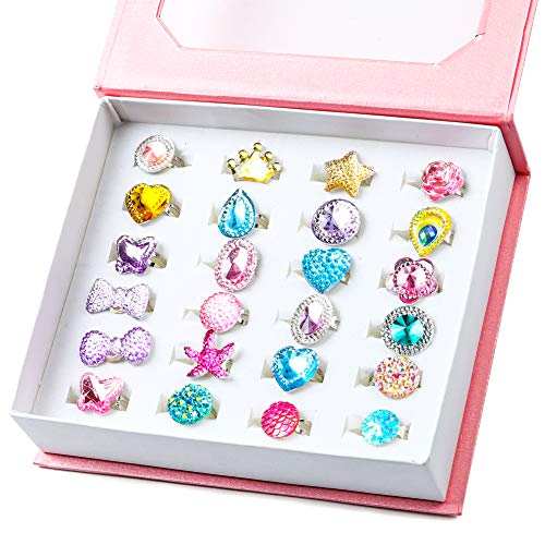 WATINC 24Pcs Adjustable Princess Pretend Jewelry Rings, Girl's Jewelry Dress Up Play Toys,...