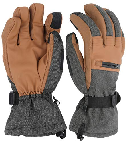 The Slugger Ski & Snowboard Glove - Waterproof Gloves with Synthetic Leather Shell Construction &...