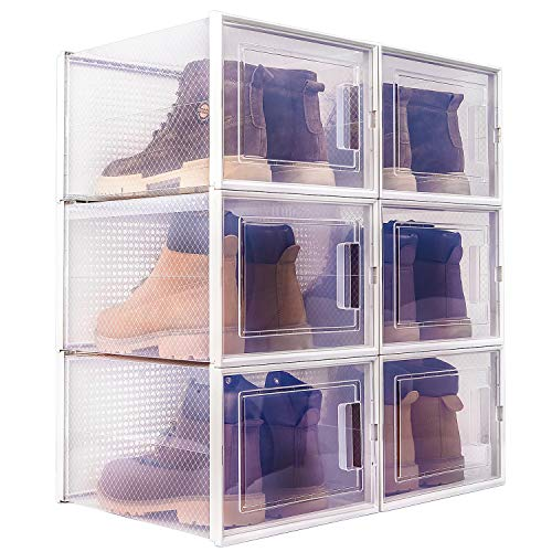 WAYTRIM Storage Shoe Box, Foldable Clear Sneaker Display Box, Stackable Storage Bins Shoe Container Organizer, 6 Pack - White,X-Large