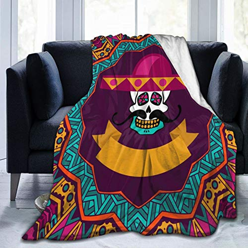 KGSPK Ultra-Soft Micro Fleece Blanket,Day of The Dead Doodle Sugar Skull with Mustache and Sombrero,Home Decor Warm Throw Blanket for Couch Bed,60' x 50'