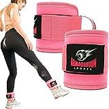 ARMAGEDDON SPORTS 2PCS Sangles de Cheville Musculation Poulie Bandes de Gym pour Câble Machines - Poignets de Cheville - Fesses et Jambes Poids Exercices (Rose)