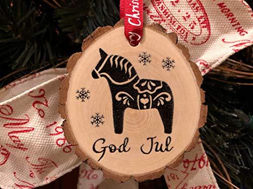 Ced454sy Houten Kerst Ornament God Jule Dala Paard Frhliche Weihnachten Deense Shabby Dalecarlian Paard Zweedse Christus Hout Slice Zweden