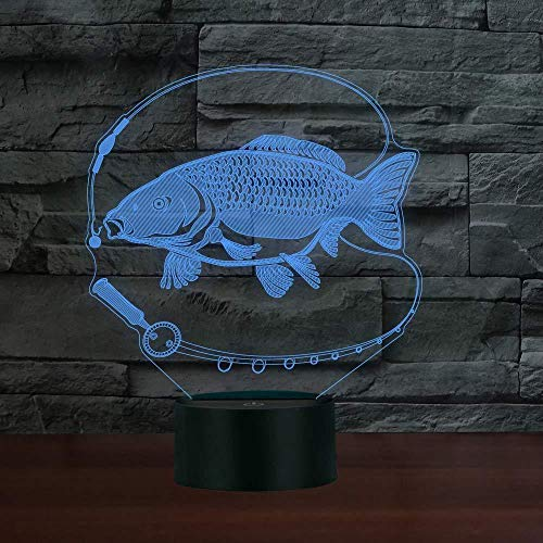 genericc 3D Slideshow Fishing 3D Illusion Lamp Three Pattern and 7 Color Change Decor Lamp for Kids