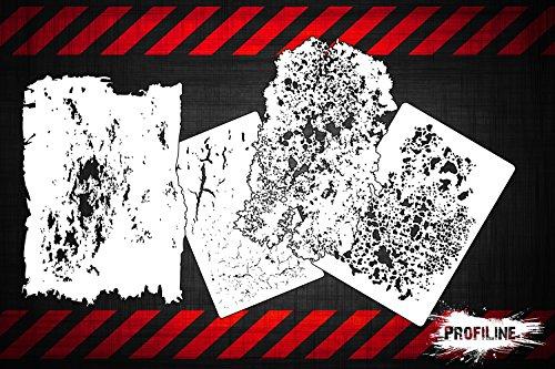 Airbrush Schablonen 4er Grunge FX SET